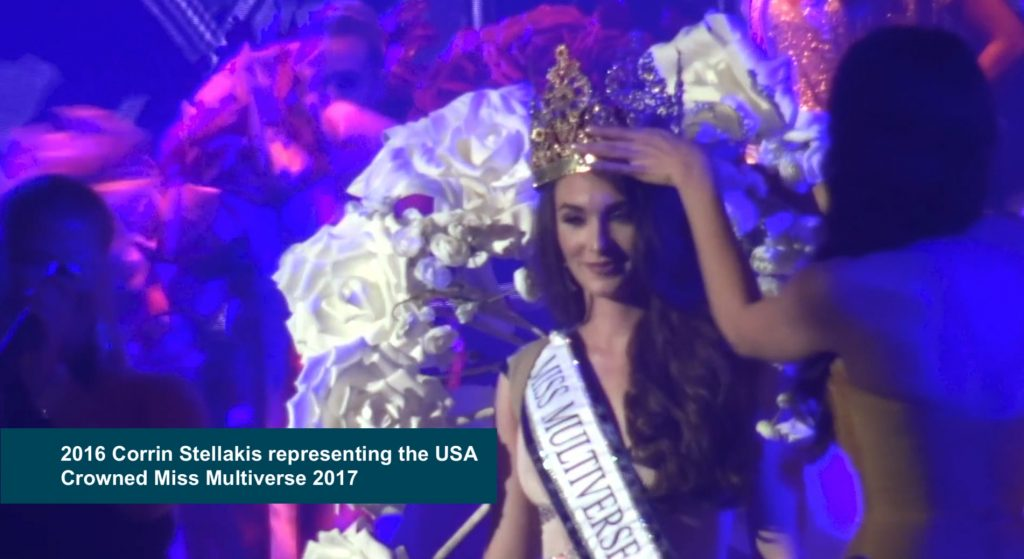Corin Stellakis representing the USA crowned Miss Multiverse 2017 1024x559 - Miss Universe Crown Evolution through the years